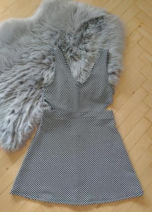Летнее платье divided h&m, короткое платьице, черно-белое