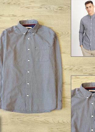 Мужская рубашка esprit р. м. состояние новой. хлопок, клетка, с длинным рукавом