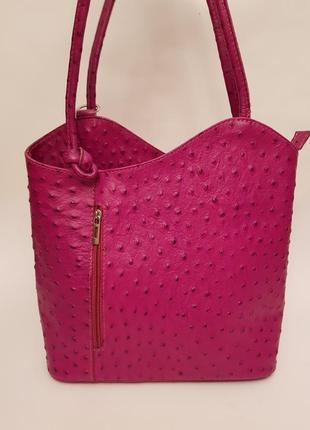 Италия! роскошный яркий рюкзак#сумка трансформер страус кожа