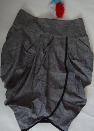 Класная юбка интересного кроя лен-хлопок