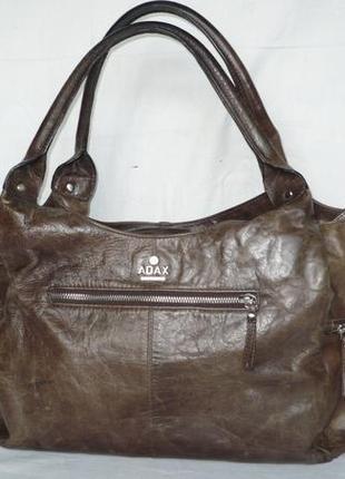 Adax copenhagen оригинал большая кожаная сумка натуральная кожа ручки через плечо