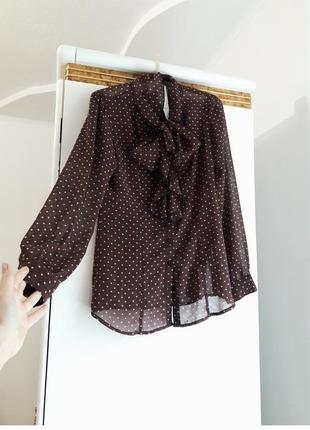 44\10 р блуза с бантом рюшами