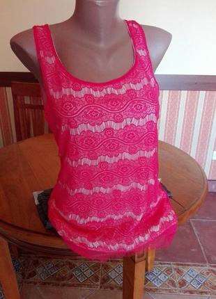 Супер топ в кружево розово коралловый цвет от amisu