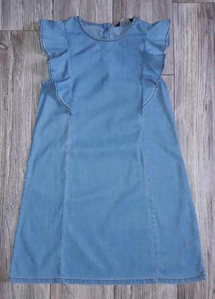Джинсовое платье с рюшами  8-9лет
