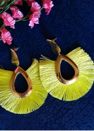 Серьги желтые в стиле zara сережки