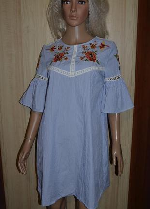 Платье с вышивкой и воланами свободного кроя primark 12 размер