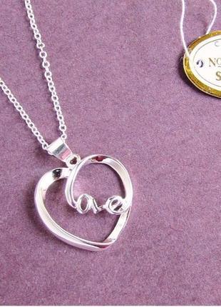 🏵красивая подвеска кулон на цепи сердце в серебре 925, новая! арт. 3133
