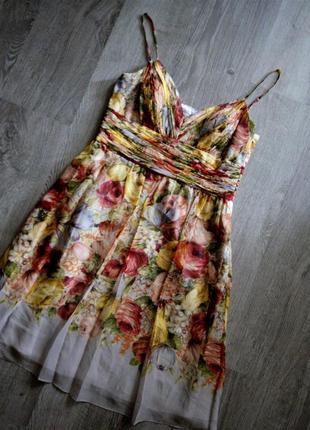 Шёлковое цветочное платье в  бельевом стиле  oc by oc американского дизайнера оleg сassini