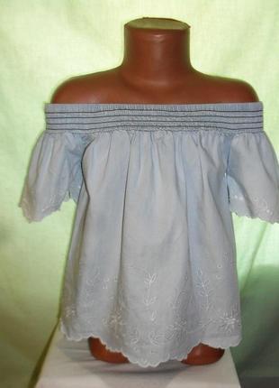Джинсовая блузка с вышивкой на 7-8лет