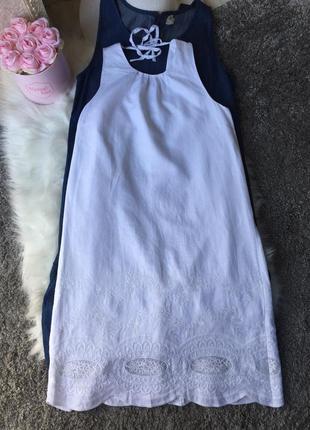 Шикарный белоснежный льняной сарафан платье