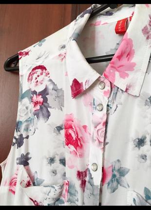 Блуза / рубашка белая в цветах