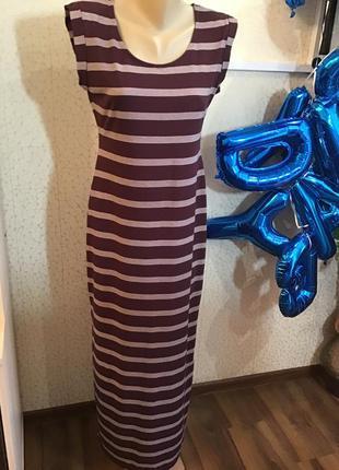 Распродажа! только до 31.07. стильное платье в полоску винного цветар р.46-48