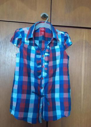 Рубашка в клетку 100% хлопок terranova 10 - 11 лет