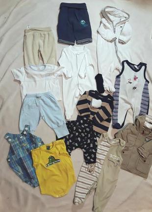 Пакет комплект одежды мальчику 0-3мес р62 штаны ползунки человечек с ушками кофта куртка