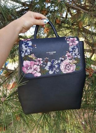 Рюкзак чёрный в цветах david jones оригинал