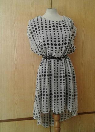 Белое в чёрные горохи крепдешиновое платье, 2xl.
