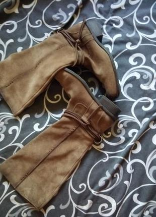 Кожаные сапоги деми 100%кожа замш1 фото