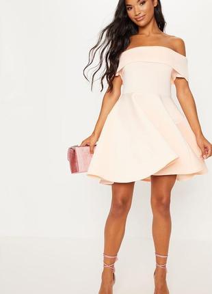 Нюдовое платье с вырезом бандо и воздушной юбкой!