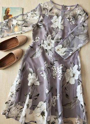 Новое! невероятно крутое коктейльное платье-миди в цветы рукав 3\4