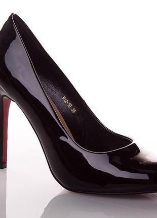 Стильные черные лаковые туфли лодочки lino marano на каблуке шпильке с красной подошвой
