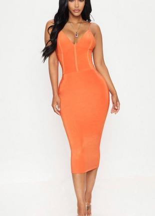 Оранжевое облегающее платье миди!