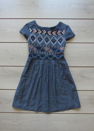 =172 красивое платье в орнамент под джинс от gato negro