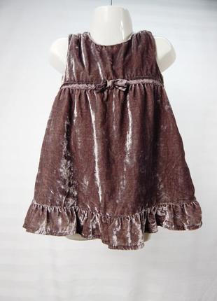 Красивое велюровое платье с бантиком