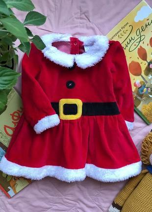 Платье новогоднее велюр f&f на 6-9 мес