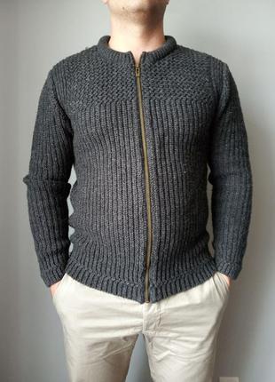 Вязаный свитер кофта пуловер на молнии