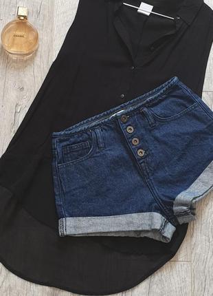 Мегастильные короткие шорты с высокой посадкой на пуговицах джинсовые джинс