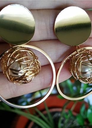 Серьги в стиле зара zara золото сережки жемчуг2 фото