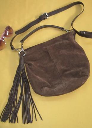 Замшевая качественная сумка gianni chiarini, италия,отличное состояние