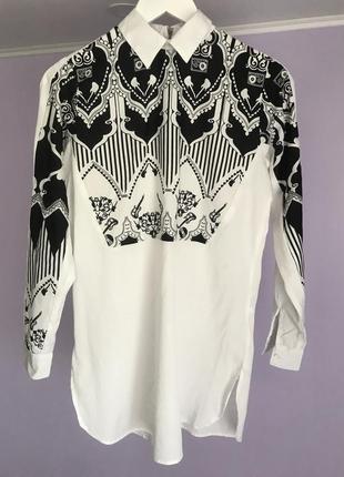 Женская черно белая удлиненная рубашка платье 8