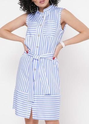 Легкое летнее голубое платье-рубашка в белую полоску (42,44,46,48/3 цвета)