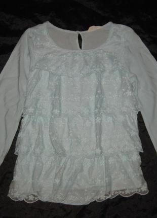 12-14 лет, нежно-голубая блузка с кружевом, можно в школу, вискоза