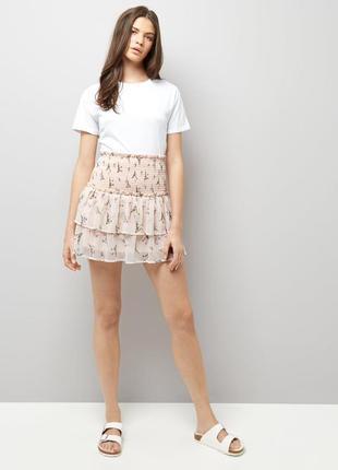 Шифоновая юбка с цветочным принтом с воланами