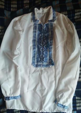 Вишита сорочка вишиванка синя