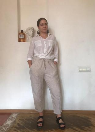 Льняные летние брюки h&m