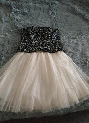 Платье выпускное вечернее р.36 фатиновпя юбка