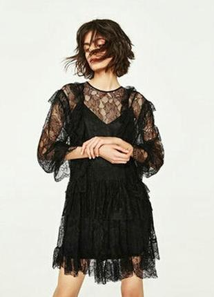 Великолепное кружевное платье zara
