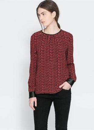 Блуза zara з шкіряними вставками