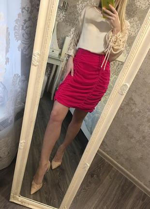Бархатная малиновая юбка
