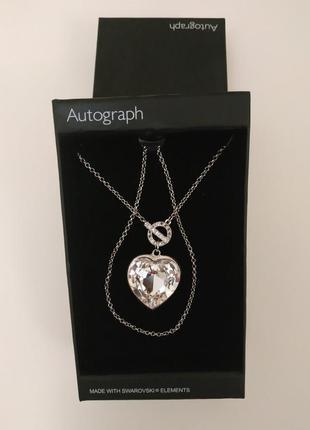 Marks & spencer autograph кристалл большое сердце на цепочке с камнями сваровски