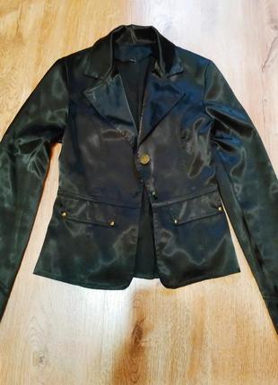 Жакет, пиджак, черный атласный с поясом