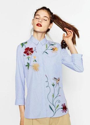 Блуза рубашка в полоску цветочный принт zara