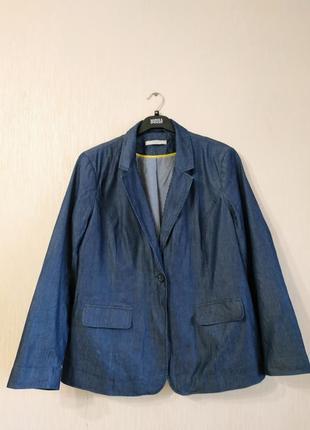 Классный синий лёгкий пиджак жакет под джинс george размер 18