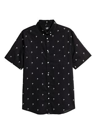 Новая летняя хлопковая рубашка пальмы regular fit h&m с коротким рукавом