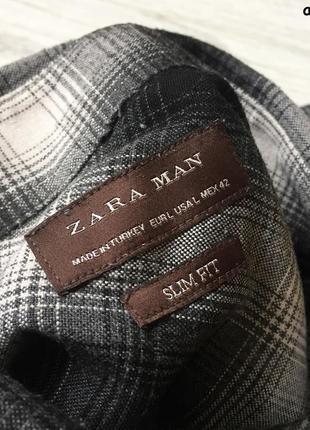 Мужская рубашка zara man - slim fit3 фото