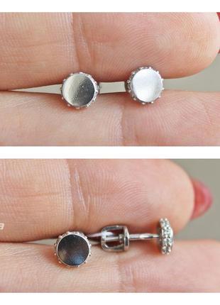 Серебряные пусеты клара