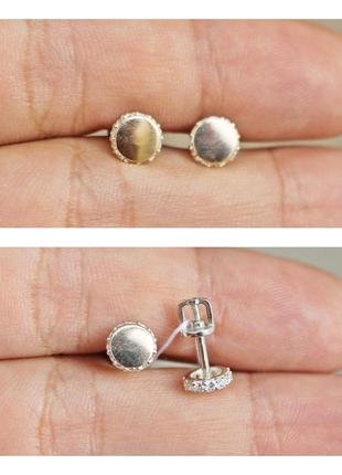 Серебряные пусеты клара с золотом